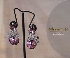 Royal Pink Sparkle Swarovski Crystal Drop Earrings