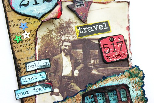 Meihsia Liu Simply Paper Crafts Mixed Media Tag Road Trip Travel Simon Says Stamp Tim Holtz 3