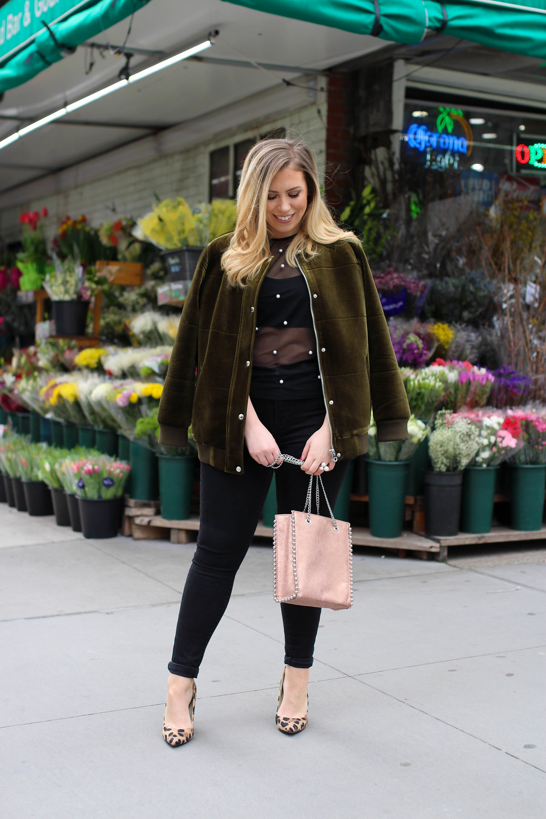 Spring Outfit Green Velvet Bomber Jacket Sheer Pearl Shirt Black Jeans Zara Rose Gold Bag Leopard Heels