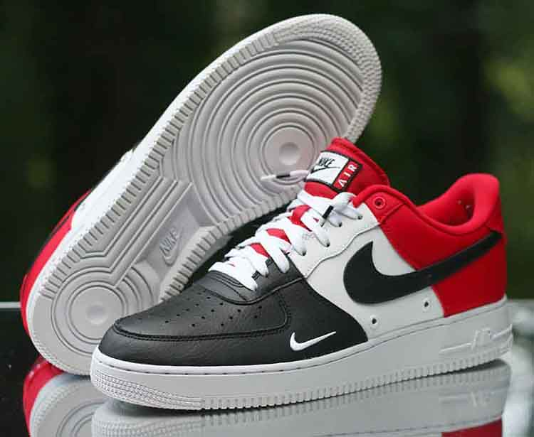 pretty nice d68b3 fd20b ... Nike Air Force 1 Low LV8 Black Toe Mini Swoosh Red White 823511-603 Size