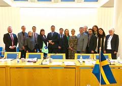 Delegações do Brasil e da Suécia, que negociaram acordo de previdência entre os países. 23.março.2018