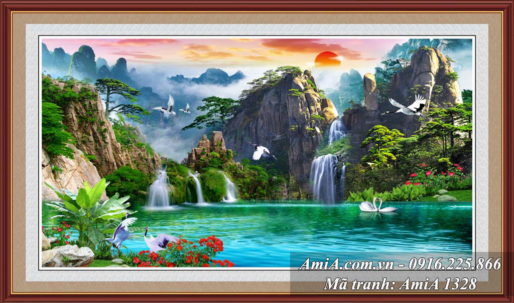 Tranh phong cảnh sơn thủy hữu tình thác nước khổ lớn