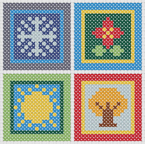 Preview of Small Cross Stitch Pattern: 4 Seasons