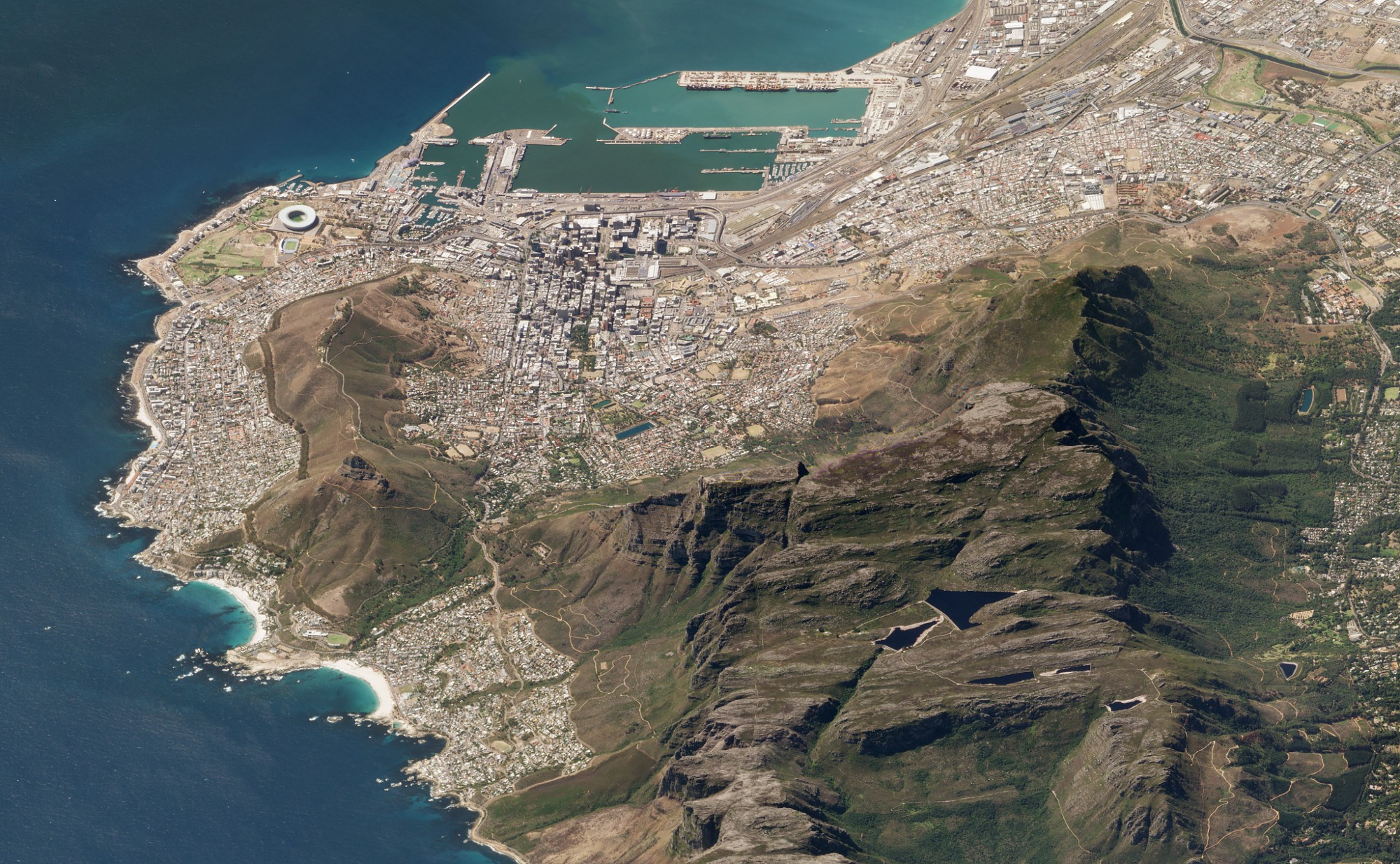 Satellite image of Cape Town and Table Mountain, March 19, 2018.
