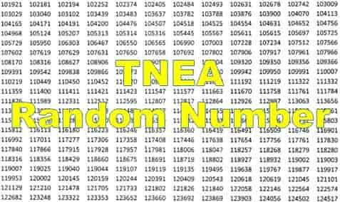 random number tnea 2019