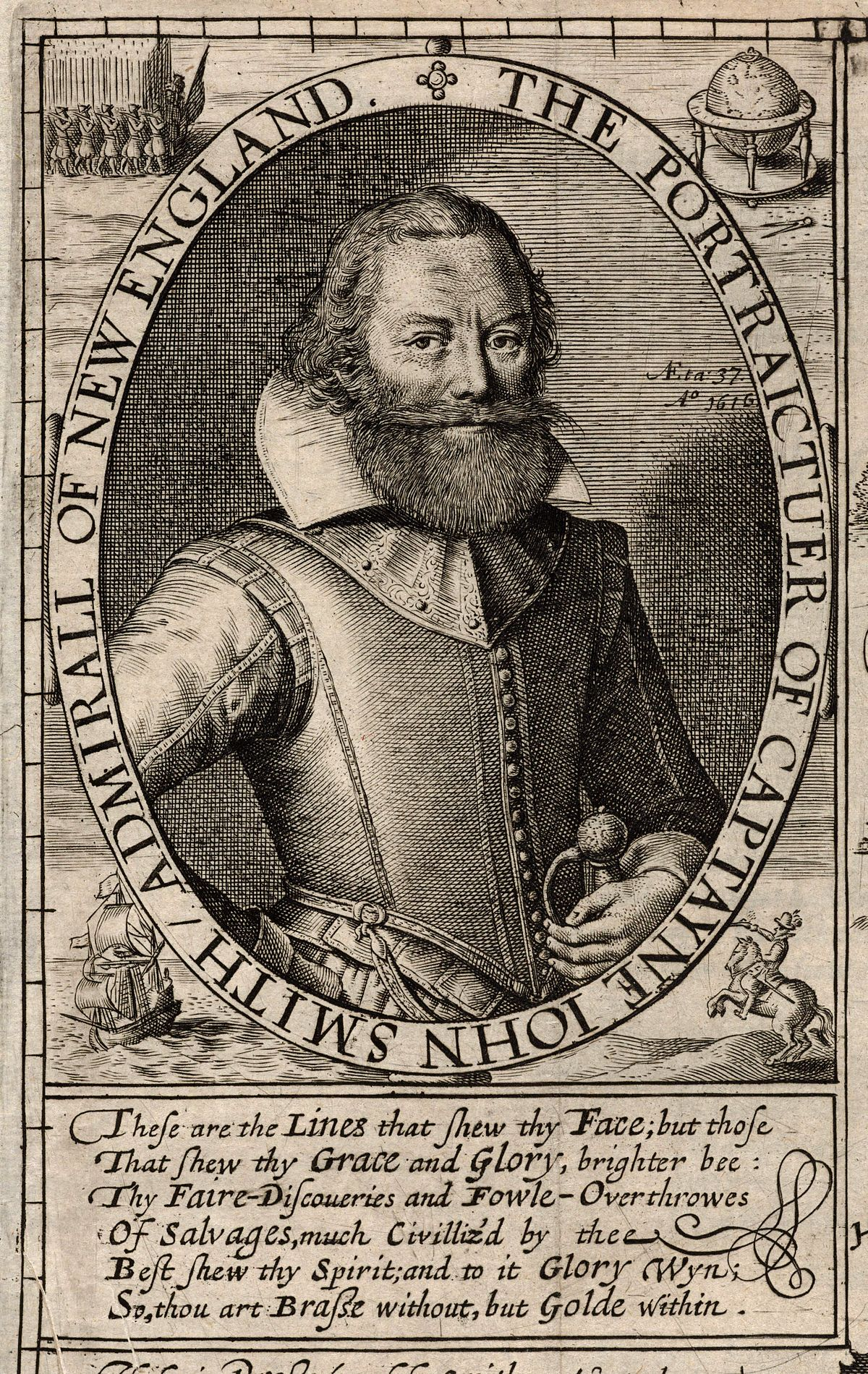 Captain John Smith, engraved by Simon Pass after a drawing by Robert Clarke. From the sixth state of the map in the 1627 edition of Generall Historie by Captain John Smith.