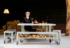Louise Cohen LIFE IS GREAT fire and grill table and me