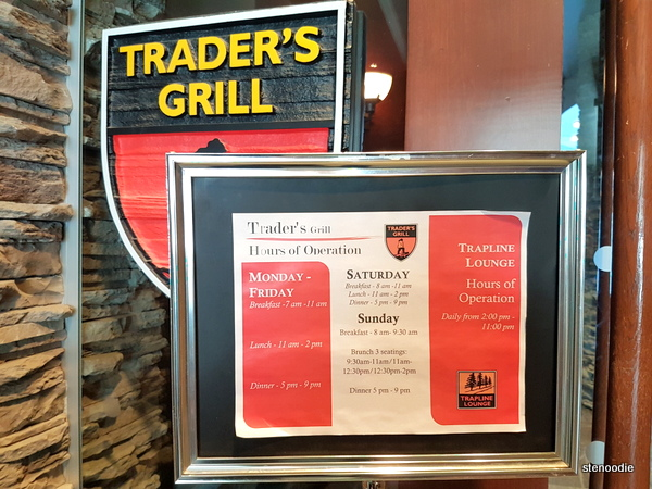Trader's Grill hours of service