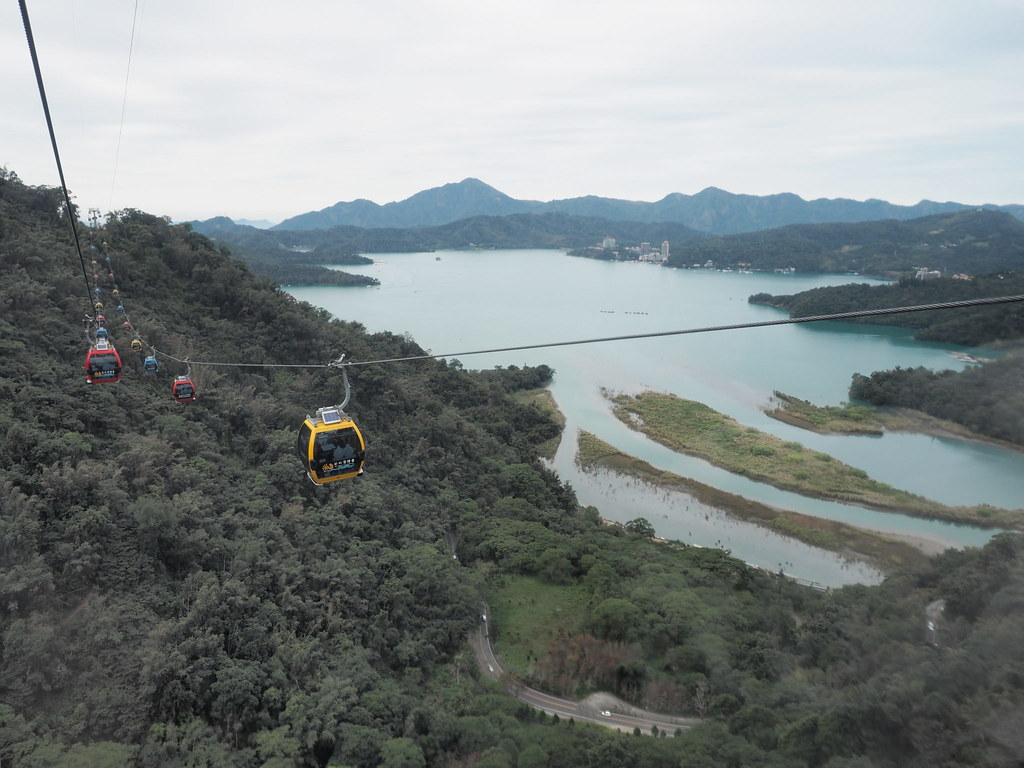 The cable cars of Sun Moon Lake (日月潭) Ropeway, connects Sun Moon Lake with the Formosa Aboriginal Culture Village (九族文化村) theme park.