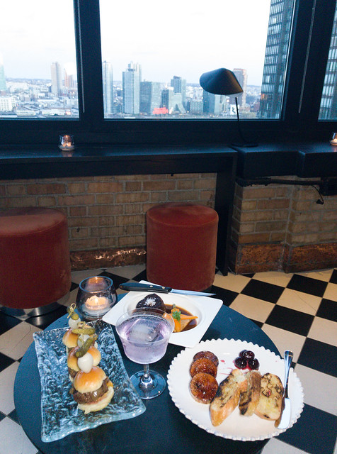 Our spread of small plates with a view of Long Island City