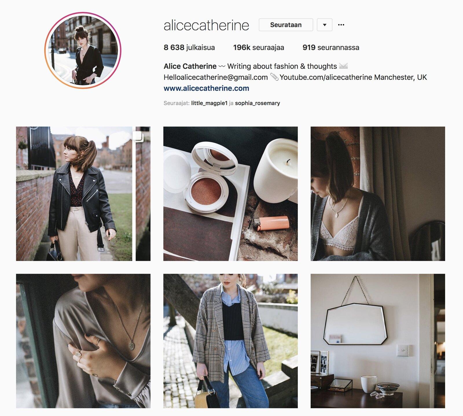 Inspiroivimmat Instagramit Alice Catherine