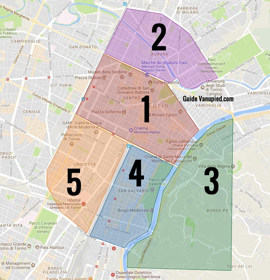 Carte des quartiers de Turin.