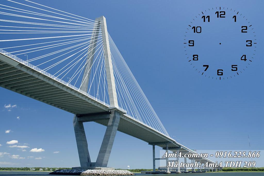 AmiA 209 - Tranh cây cầu dây văng quê hương hiện đại một tấm