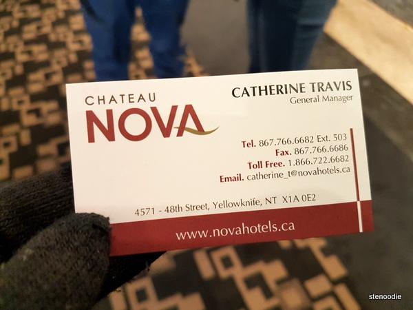 Chateau Nova Yellowknife Hotel business card