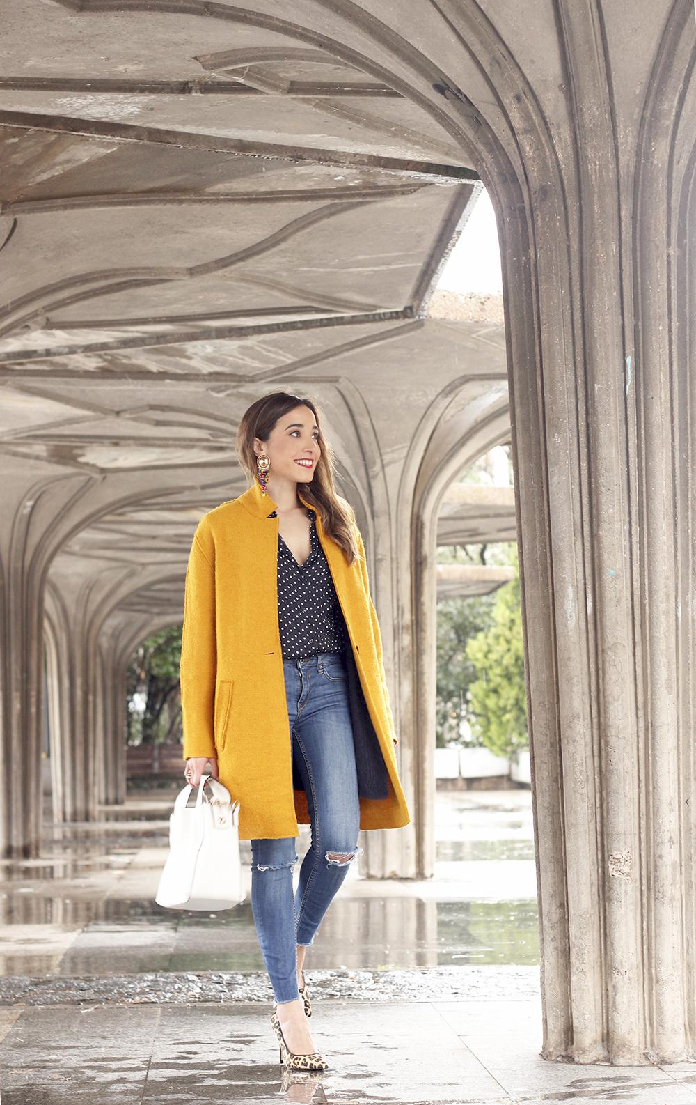 mustard coat polka dots shirt leopard heels white bag outfit 02