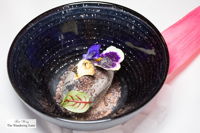"""Rain That Doused the Fire - Charred cacao, white chocolate ice cream served with chocolate """"sand"""" (flavored with Mexican spices like anise, cinnamon, ginger, etc.)"""