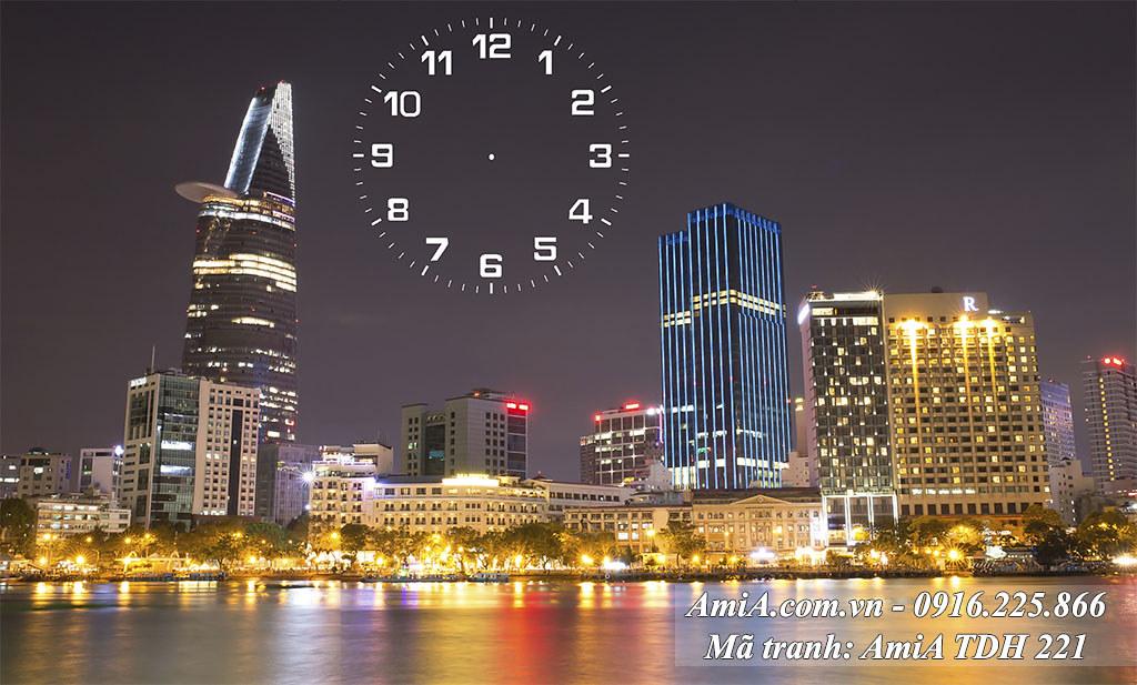AmiA 221 - Tranh phong cảnh đẹp thành phố Sài Gòn về đêm