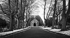 Nokia Lumia 1020 - B&W - Whitworth Cemetery Chapel, Swindon on a snowy day
