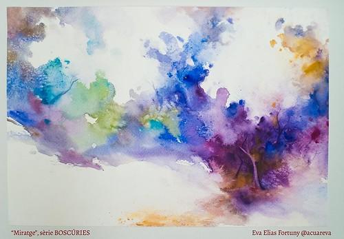 Miratge, sèrie BOSCÚRIES. Aquarel·la de l'artista Eva Elias.