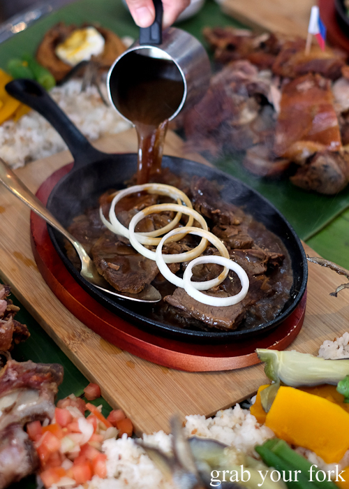 Sizzling steak during our boodle fight at Sizzling Fillo in Lidcombe Sydney