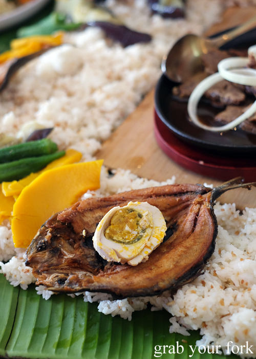 Fried milkfish with salted egg and garlic rice for our boodle fight at Sizzling Fillo in Lidcombe Sydney