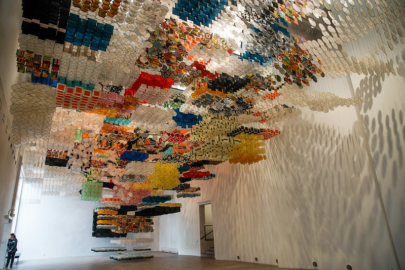 Jacob Hashimoto installation in Turku WAM contemporary art nykytaide museo museum