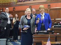 Rep. Zawistowski introduces Bree Berner on the House floor, she was recently honored by the Suffield Ambulance Association