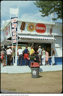 People waiting at ice cream stand on CNE grounds