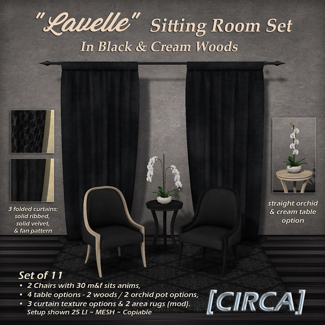 "@ Black Fair - [CIRCA] - ""Lavelle"" - Sitting Room Set - Black & Cream Woods"
