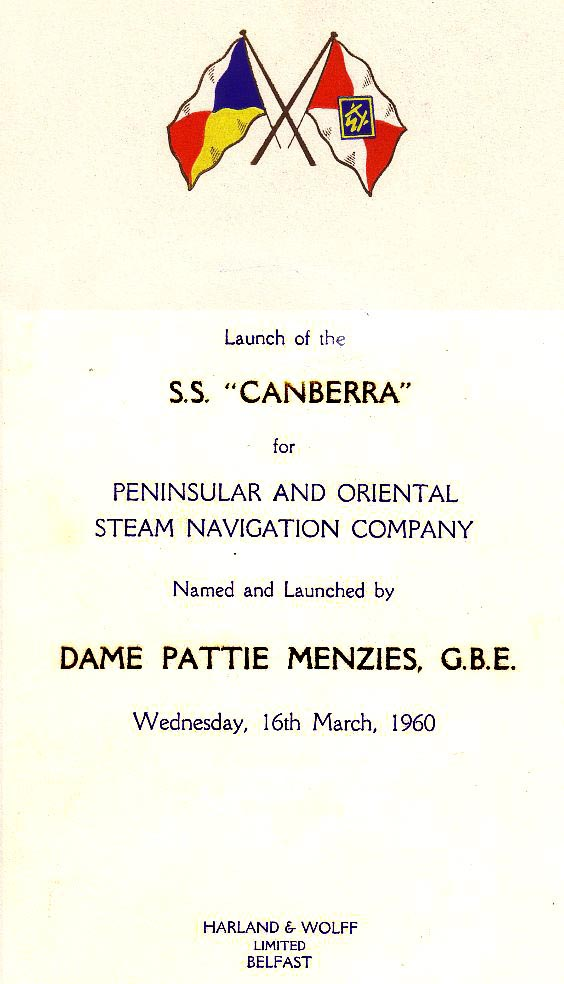 Program for the launch of S.S. Canberra on March 16, 1960.