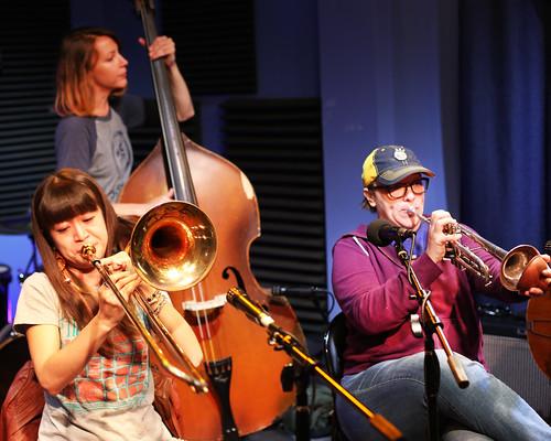 Shake 'Em Up Jazz Band on Day 4 of Spring Membership Drive - 3.16.18. Photo by Bill Sasser.