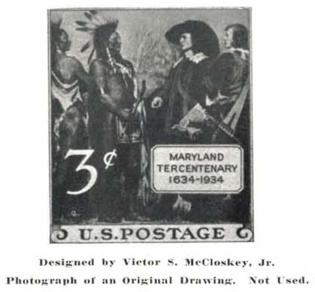 Maryland Tercentenary - Victor McCloskey unused design 1934