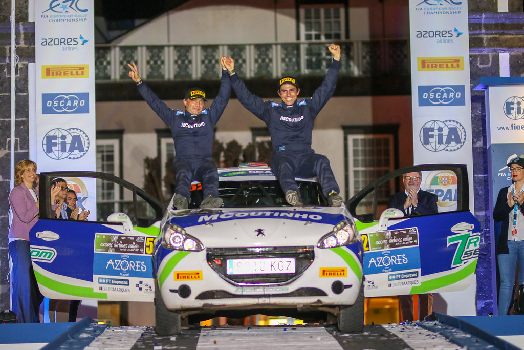52 GAGO Diogo (prt), RAMALHO Miguel, Peugeot 208 R2, podium Under 27 during the 2018 European Rally Championship ERC Azores rally,  from March 22 to 24, at Ponta Delgada Portugal - Photo Jorge Cunha / DPPI