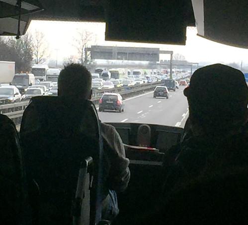 Congestion sur l'autoroute entre Prague et Munich
