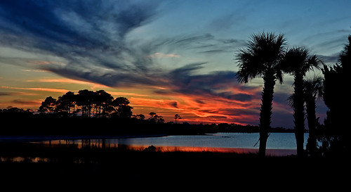 clouds landscape sunset red blue palmtrees silhouette nature stgeorgeisland florida sky ocean reflections