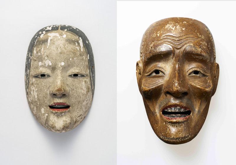 左)《若い女》(奈良・吉水神社、~4月8日展示) 右)重要文化財《尉》(奈良・天河神社、5月8日~展示)