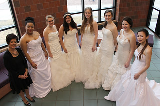 Fri, 03/28/2014 - 09:54 - A photograph illustrating the wide selection of bridal wear that was donated to students in preparation of a recent Fashion Show.