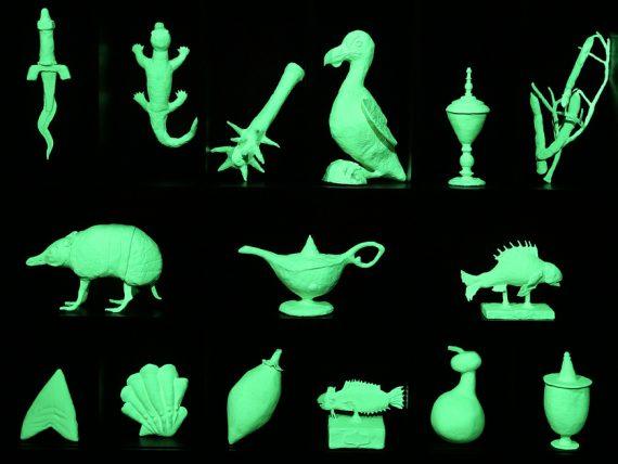 Mark Dion, The Wonder Workshop, 2015 (detail), dark oak cabinets, epoxy resin, paint, 124 magic sculpt objects, installation view of Future Histories: Mark Dion and Arseny Zhilyaev at Casa dei Trei Oci, Venice, 2015