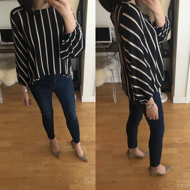 LOFT Mixed Stripe Fluid Blouse, size XXSP
