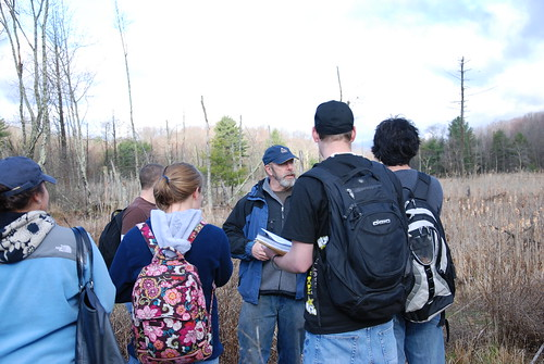 Professor Jack Clausen (facing the camera) teaches an undergraduate course on wetlands biology and conservation.