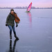 Samantha joins Ice-yachting on the smooth ice of Loenderveenseplas