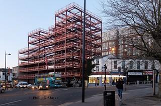 Newest building in Renshaw Street next door to the oldest buildings in Leece Street, Liverpool, UK.  March 2018.
