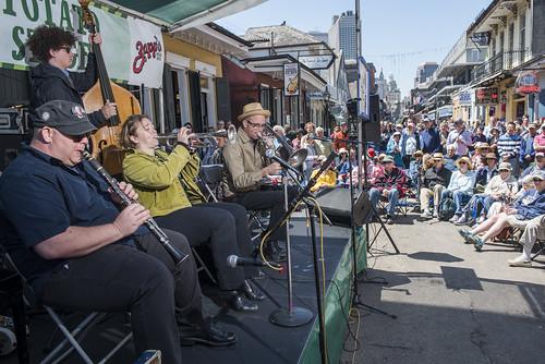 Shotgun Jazz Band perform along Bourbon Street during French Quarter Fest 2018 on April 15, 2017. Photo by Ryan Hodgson-Rigsbee RHRphoto.com