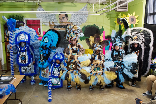 Wild Opalousas Big Chief Tycen Grant, Flag Boy Tory Butler, Little Scout Sevyn Anderson, Big Queen Regine Roberts, Princess Amiya Awogboro, Little Queen Cass Antione, Spy Boy Kyllon Martin ready to show their Indian suits to the school on Febuary 8, 2018.