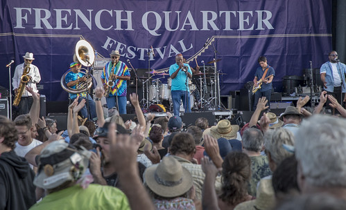 Dirty Dozen Brass Band on Day 1 of French Quarter Fest - 4.12.18. Photo by Marc PoKempner.