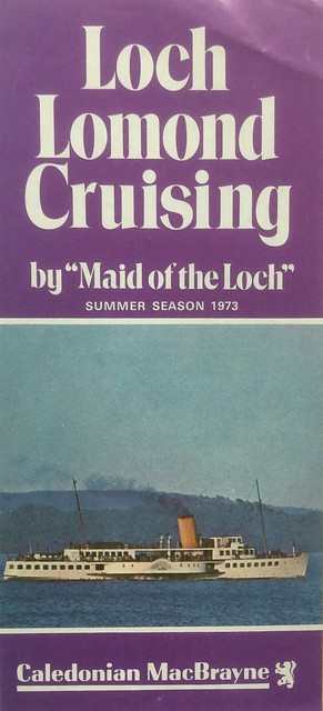 "First brochure under CalMac for ps ""Maid of the Loch"" sailings on Loch Lomond."