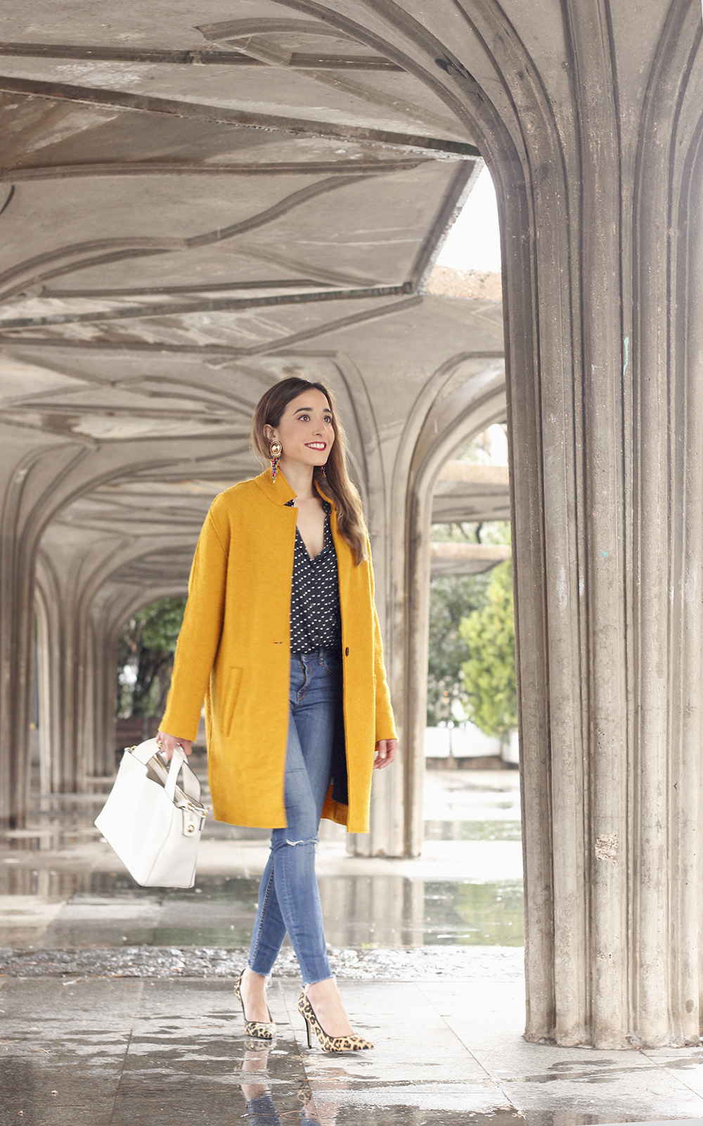 mustard coat polka dots shirt leopard heels white bag outfit 07