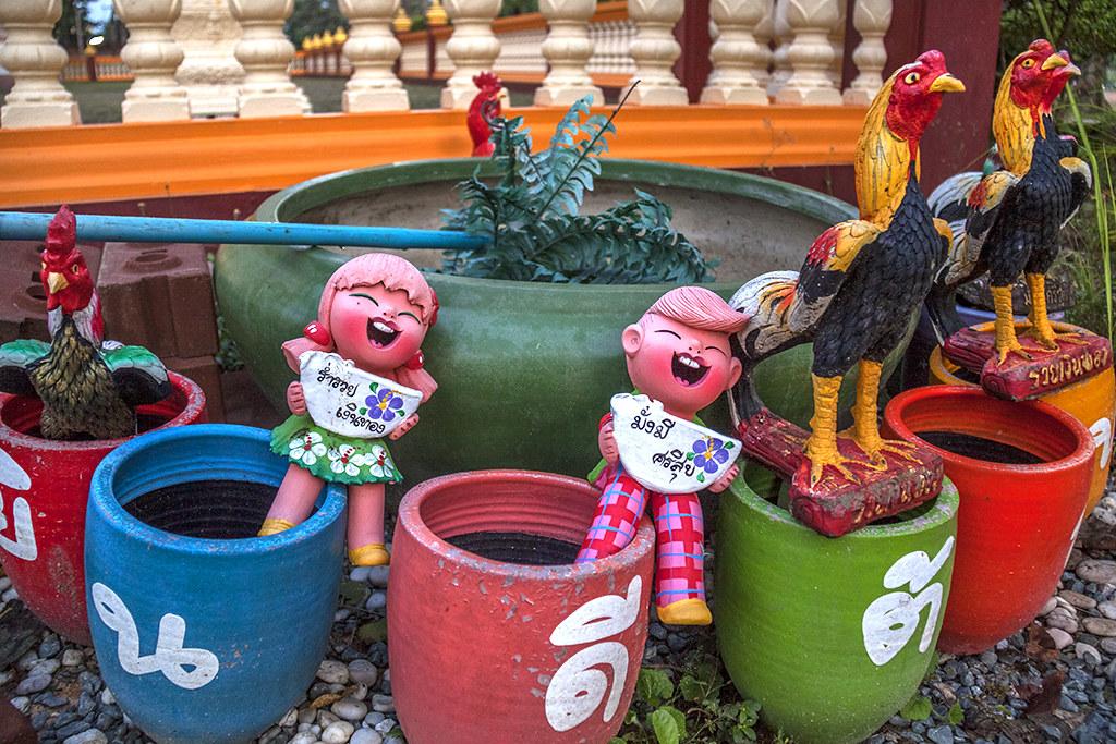Figurines outside Buddhist temple--Chanthaburi