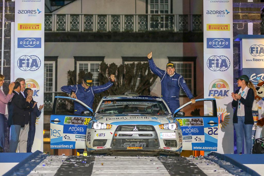 39 PIMENTEL Luis (prt), MOURA Nuno (prt), MITSUBISHI LANCER EVO X, podium during the 2018 European Rally Championship ERC Azores rally,  from March 22 to 24, at Ponta Delgada Portugal - Photo Jorge Cunha / DPPI