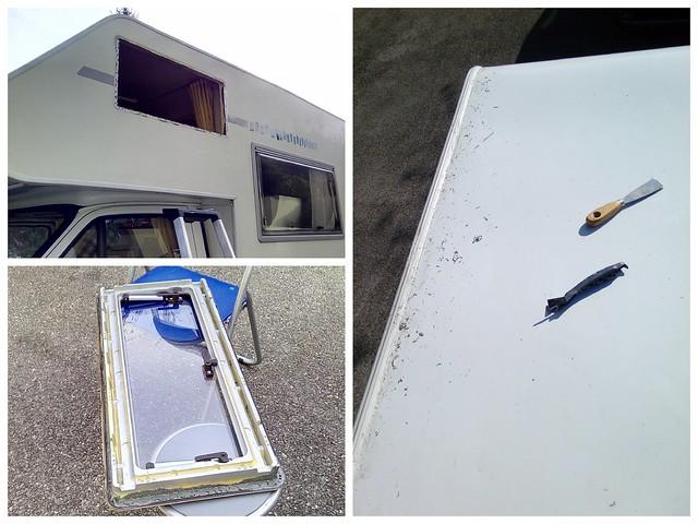 démontage des fenêtres pour refaire les joins l'étanchéité + joins sur le toit.